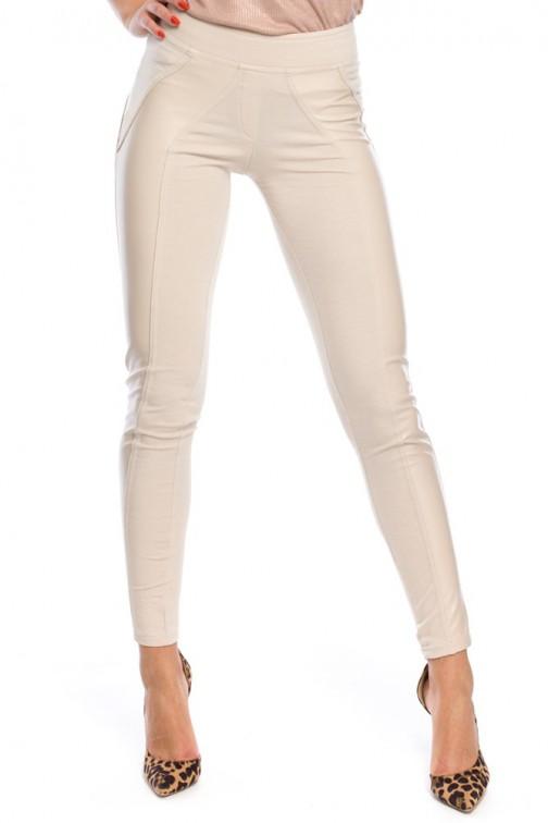 Nowoczesne legginsy ze skórzanymi wstawkami - ecru