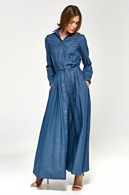 Sukienka maxi z długim rękawem - jeansowa