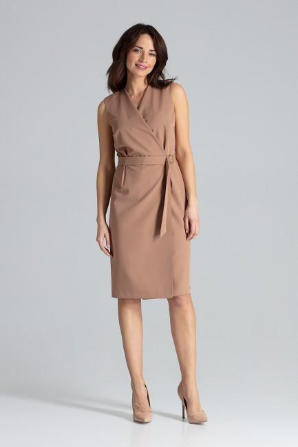 Elegancka sukienka midi bez rękawów - brązowa