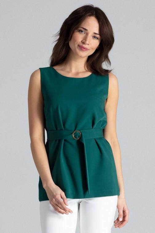 CM4477 Trapezowa bluzka z ozdobnym paskiem - zielona