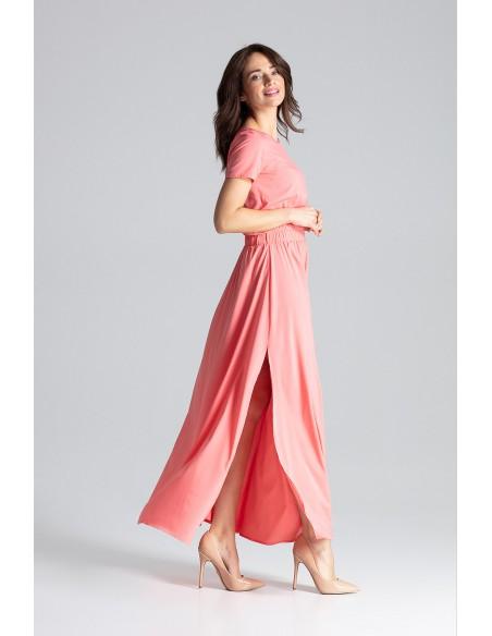 Długa sukienka maxi z krótkim rękawem - koralowa
