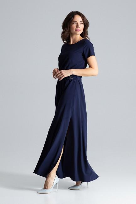 Długa sukienka maxi z krótkim rękawem - granatowa