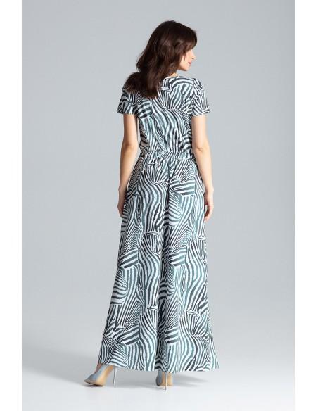 Długa sukienka maxi z krótkim rękawem - wzór 105