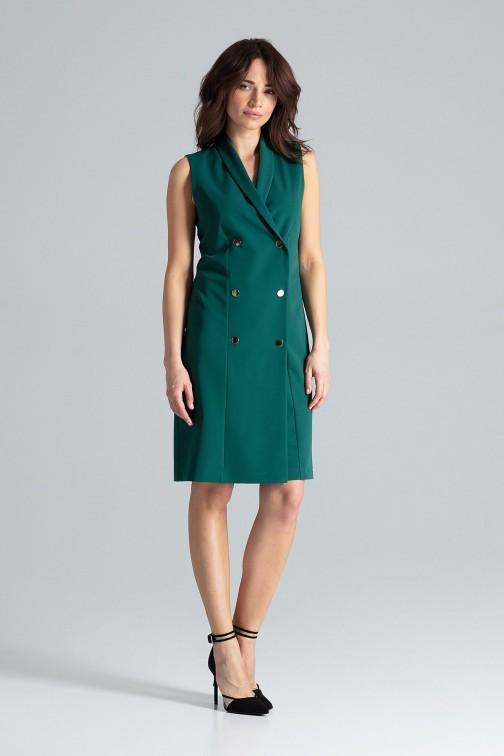 CM4480 Zapinana sukienka z kopertowym dekoltem - zielona
