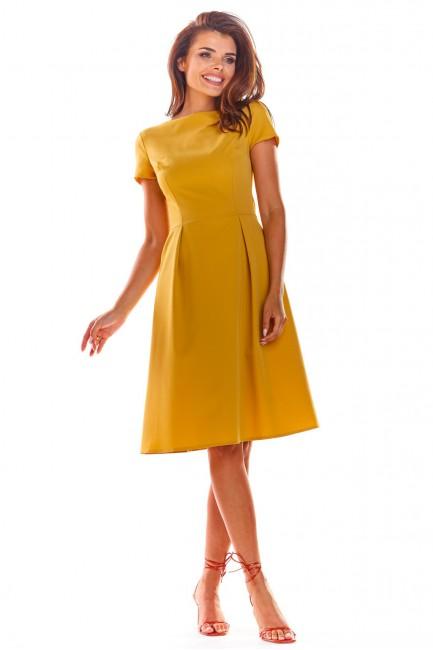 Koktajlowa sukienka midi z krótkim rękawem - żółta