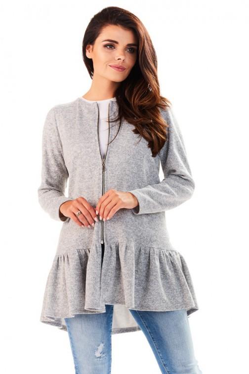 CM3222 Zasuwany sweter damski z baskinką - jasny szary