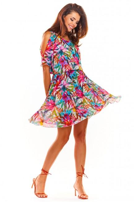 Przewiewna letnia sukienka - różowa