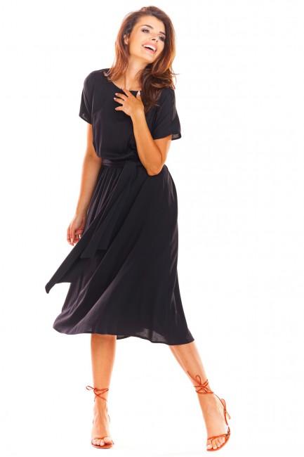 Sukienka midi z rękawem kimono - czarna