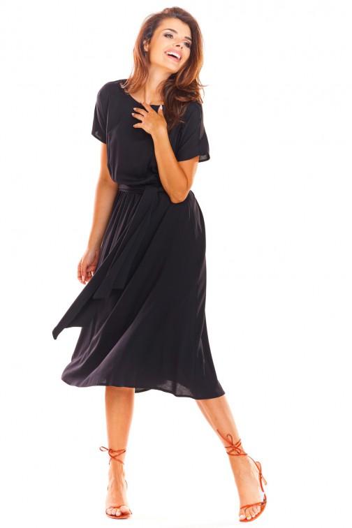 CM4495 Sukienka midi z rękawem kimono - czarna