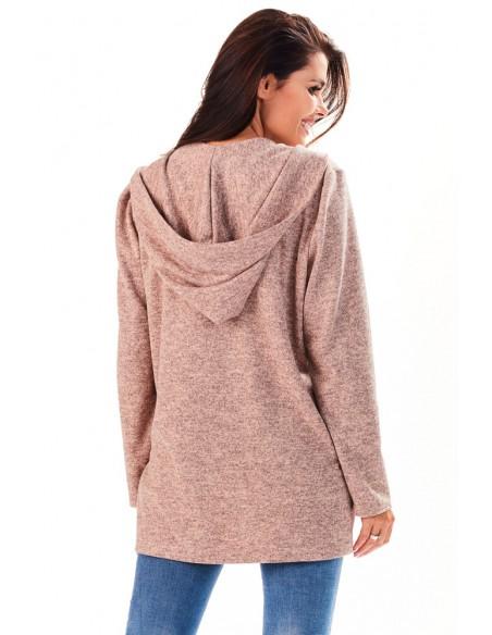 Niezapinany kobiecy sweter z kapturem - różowy