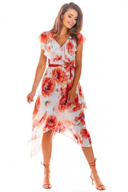 Asymetryczna sukienka w kwiatowy wzór - czerwona