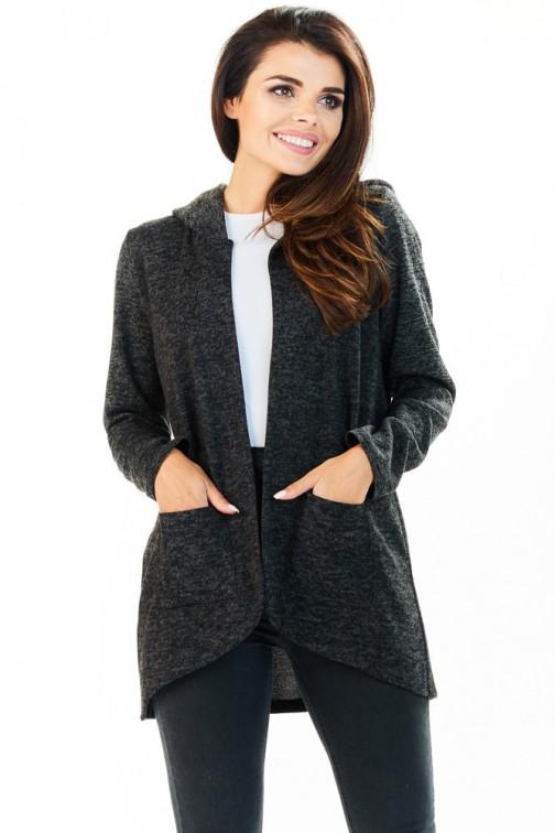 CM3225 Niezapinany kobiecy sweter z kapturem - grafitowy