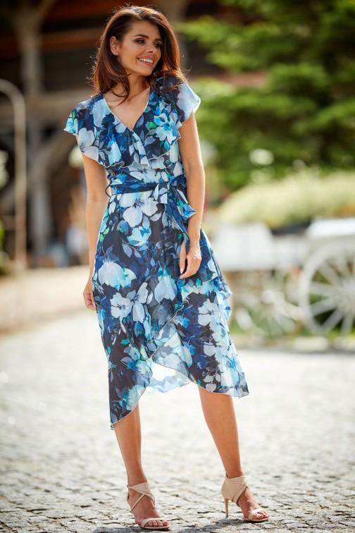 CM4507 Asymetryczna sukienka w kwiatowy wzór - granatowa