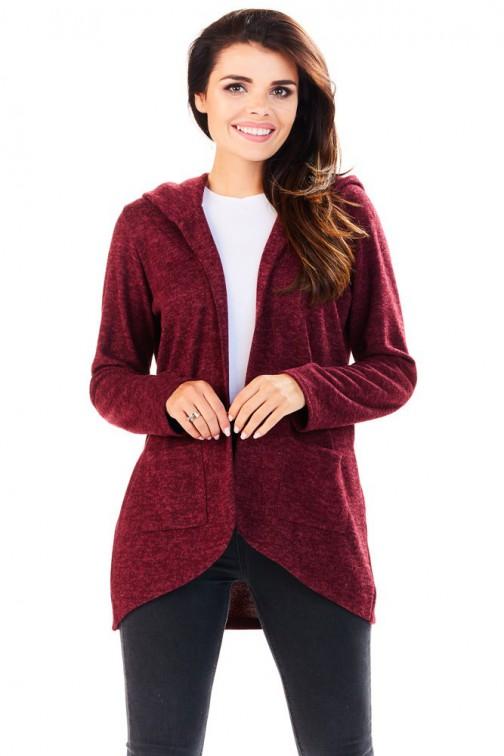 CM3225 Niezapinany kobiecy sweter z kapturem - bordowy