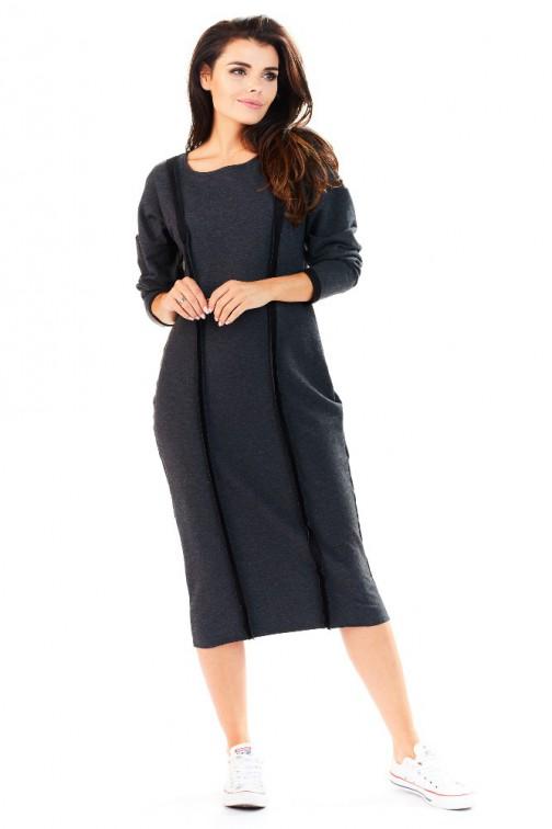 CM3226 Luźna sukienka z ozdobnymi przeszyciami - grafitowa