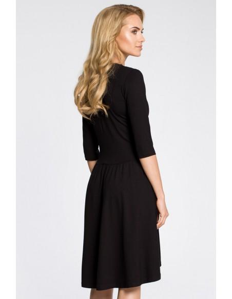 Sukienka z marszczonym rozkloszowanym dołem - czarna