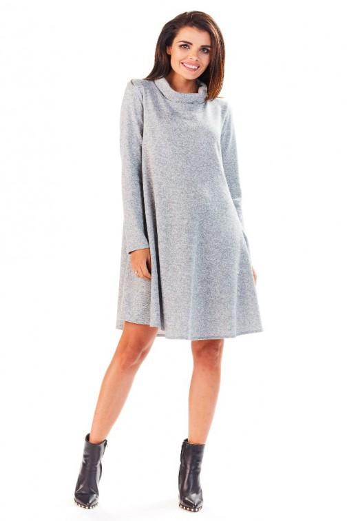 CM3227 Wyjątkowa sukienka z wywiniętym kołnierzem - szara