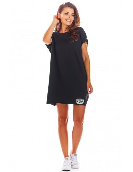 Sukienka mini z krótkimi rękawami - czarna