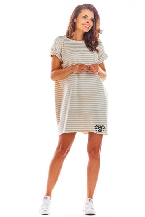 CM4519 Sukienka mini z krótkimi rękawami - beżowa-paski