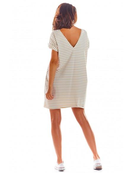 Sukienka mini z krótkimi rękawami - beżowa-paski
