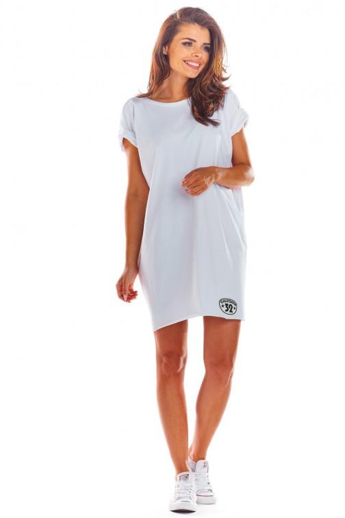 Sukienka mini z krótkimi rękawami - biała
