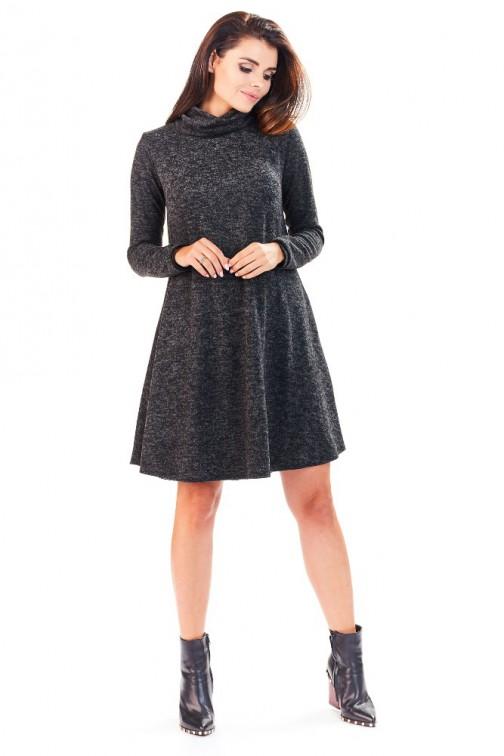CM3227 Wyjątkowa sukienka z wywiniętym kołnierzem - grafitowa