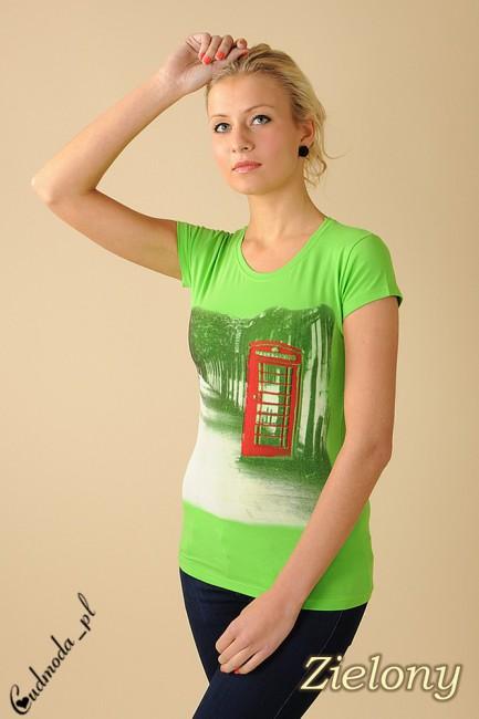 Bluzeczka krótki rękaw t-shirt damski LONDON - zielona