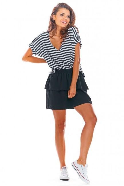 Krótka spódniczka mini z falbanami - czarna