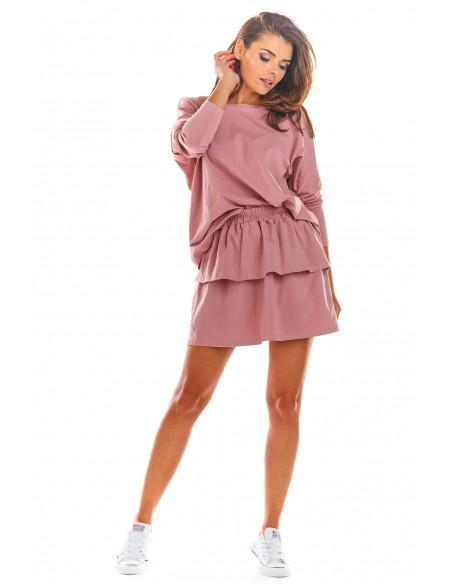 Krótka spódniczka mini z falbanami - różowa