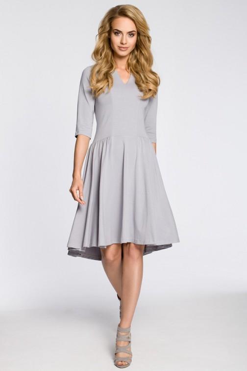 CM3045 Sukienka z marszczonym rozkloszowanym dołem - szara