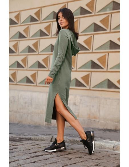 Sukienka maxi z kapturem - khaki