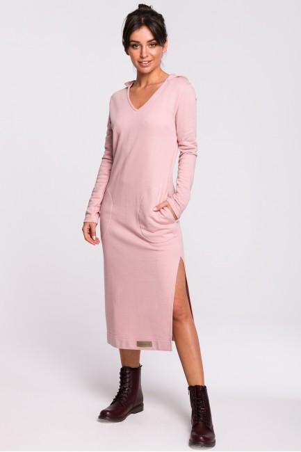 Sukienka maxi z kapturem - pudrowa