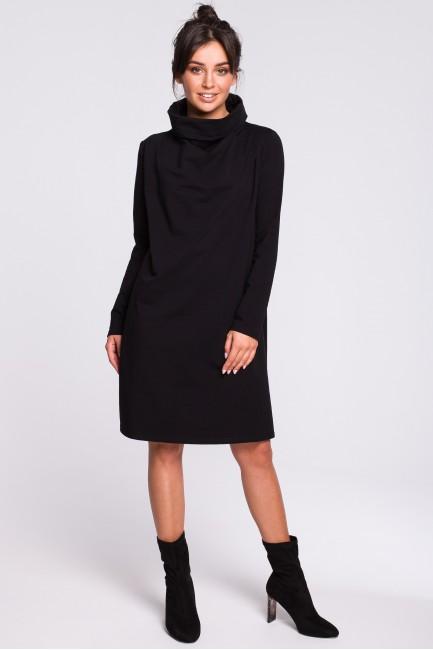 Sukienka z wysokim kołnierzem - czarna