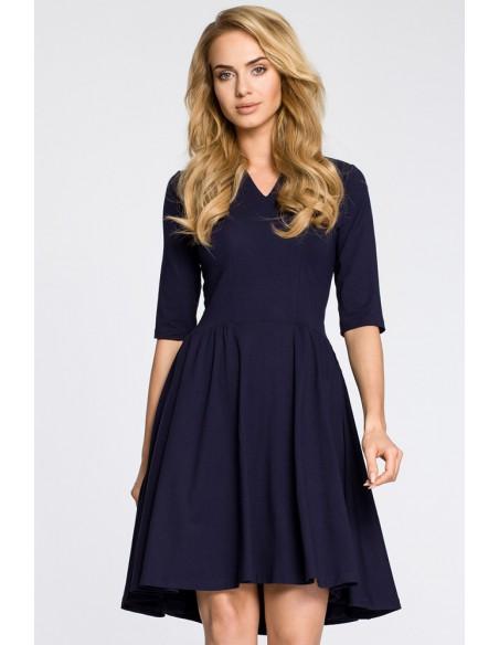 Sukienka z marszczonym rozkloszowanym dołem - granatowa