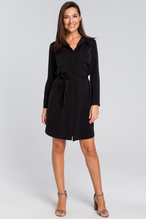 CM4133 Sukienka koszulowa z kieszeniami i paskiem - czarna OUTLET