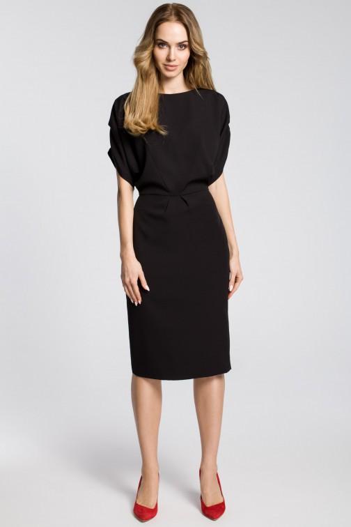 CM3592 Ołówkowa sukienka midi z rękawami kimono - czarna OUTLET