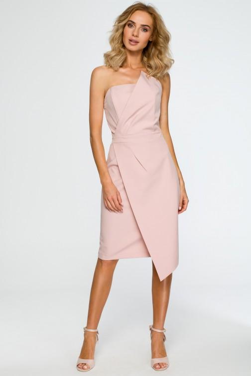 CM4019 Sukienka gorsetowa - pudrowa OUTLET