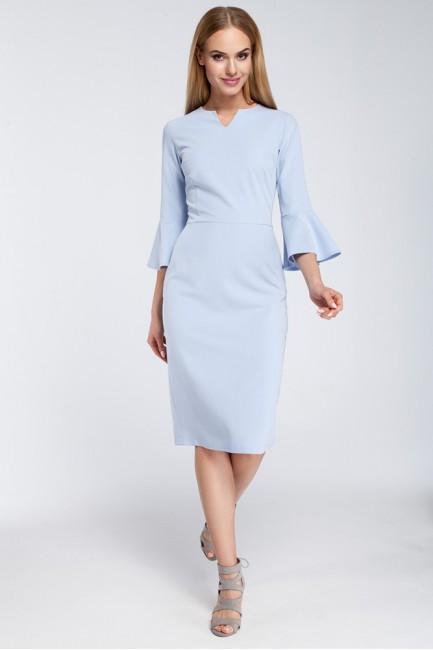 Dopasowana sukienka z falbanami przy rękawach - błękitna OUTLET