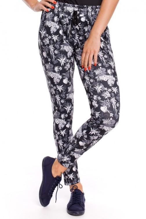 CM3250 Kobiece spodnie z motywem w kwiaty