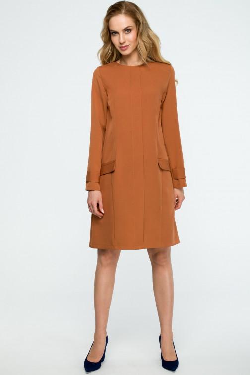 CM3835 Gładka sukienka z klapami - ruda OUTLET