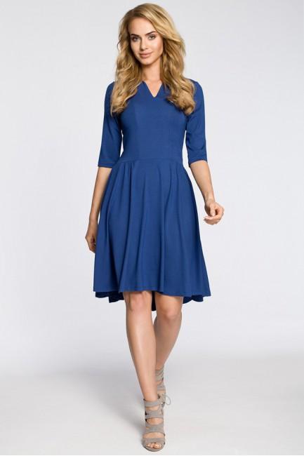 Sukienka z marszczonym rozkloszowanym dołem - niebieska