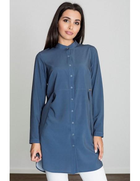 Kobieca sukienka o kroju tuniki - granatowa