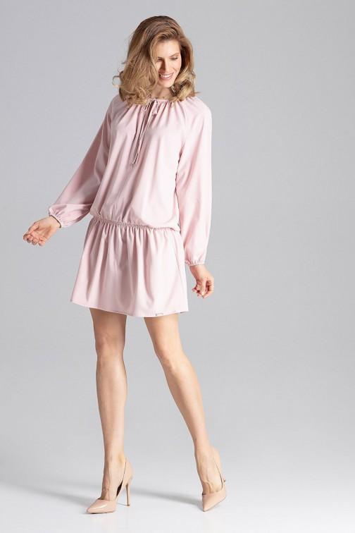 CM4624 Sukienka z reglanowym rękawem - różowa