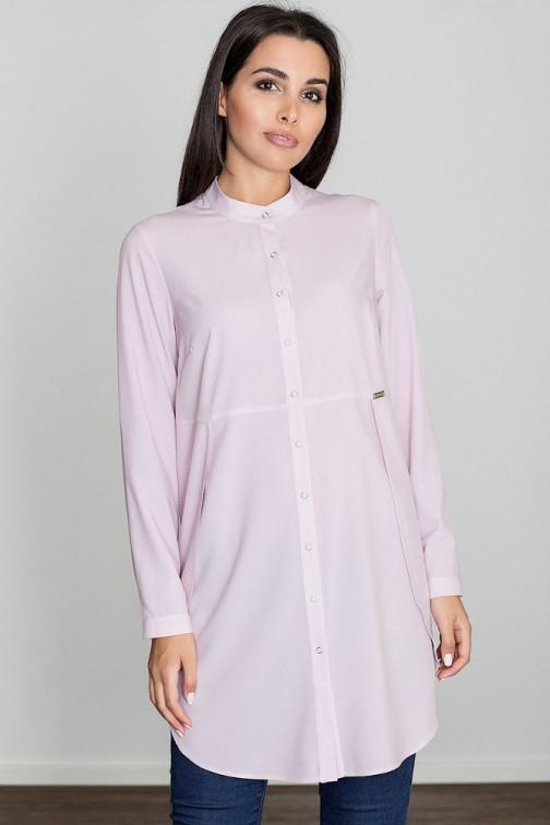 Kobieca sukienka o kroju tuniki - różowa