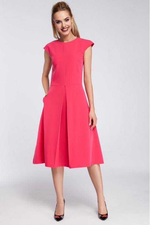 CM2920 Dopasowana sukienka kontrafałda - różowa OUTLET