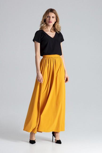 Długa spódnica maxi z rozciętym bokiem - musztardowa