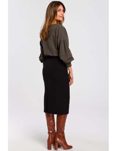 Klasyczna spódnica ołówkowa z karczkiem - czarna
