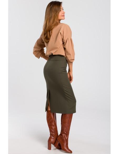 Klasyczna spódnica ołówkowa z karczkiem - khaki