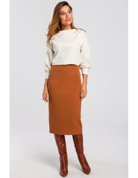 Klasyczna spódnica ołówkowa z karczkiem - ruda