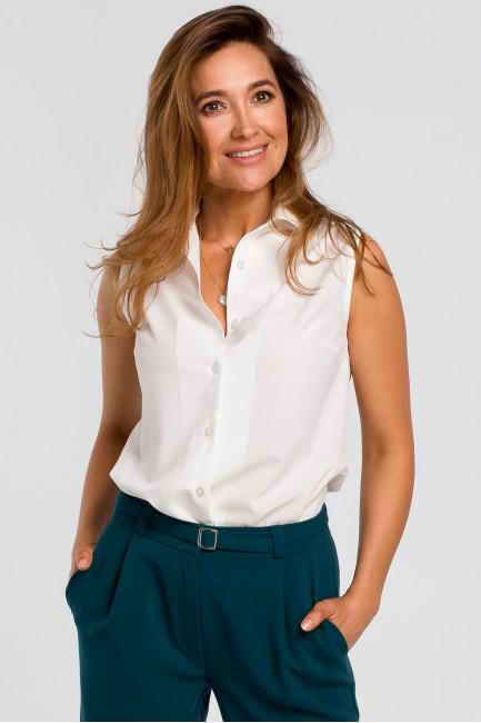 Bluzka damska z kołnierzykiem bez rękawów - ecru